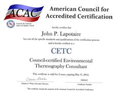 John Lapotaire, CETC - ACAC Certified Environemntal Thermography Consultant